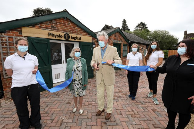 Earl of Bessborough and Lady Bessborough cut the ribbon, with business owner Natalie March, third right, at a new physiotherapy studio, Physio logical, in the Maze Courtyard, Stansted House, Stansted Park, Rowlands CastlePicture: Chris Moorhouse (jpns 100521-05)
