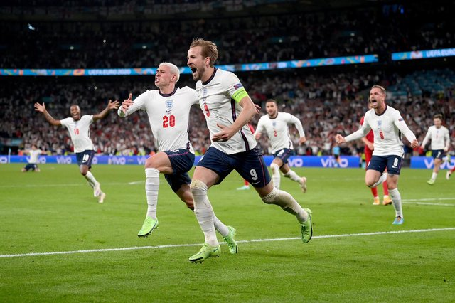 Harry Kane celebrates England's winner last night. Photo by Laurence Griffiths/Getty Images.