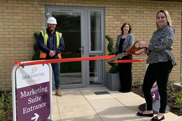 Florence Court, Barchester Healthcare's new luxury care home in Fareham, is celebrating its official opening. Pictured Steve Dixon, McGoff Construction, Fiona Bacon, Sales and Marketing and Lauren Mortimer Deputy Manager, Florence Court.