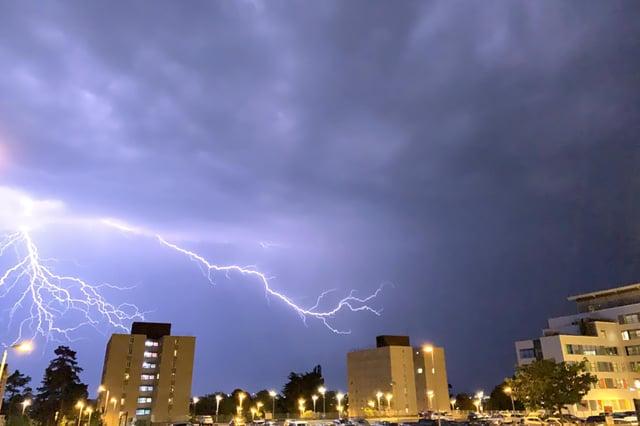 Lightning above Queen Alexandra Hospital in Cosham