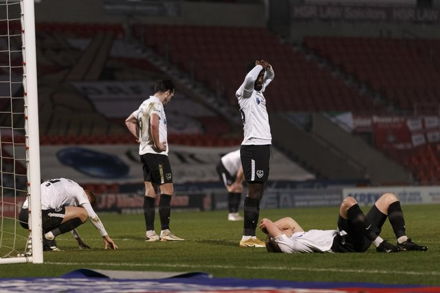 Portsmouth players look dejected after the Sky Bet League One match between Doncaster Rovers and Portsmouth at Keepmoat Stadium on March 2nd 2021 in Doncaster, England. (Photo by Daniel Chesterton/phcimages.com)