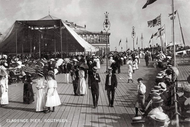 Boaters and parasols were the order of the day in this picture of sun-seekers on Clarence Pier, Southsea, about 1910.