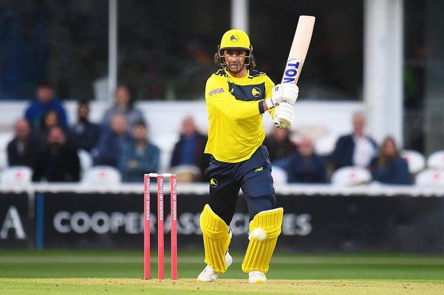 Colin de Grandhomme in action during his Hampshire debut at Taunton last Friday. Photo by Harry Trump/Getty Images.