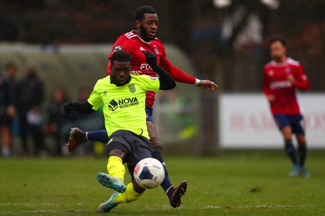 Abdulai Baggie (foreground) in National League South action for Weymouth against Hampton & Richmond Borough in February, 2020. Photo by Dan Istitene/Getty Images.