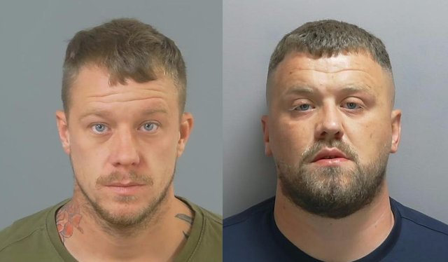 Left, Charlie Statham, 30, of Crescent Close, Winchester, and Aston Hannis, 30, of Leah Gardens, Eastleigh