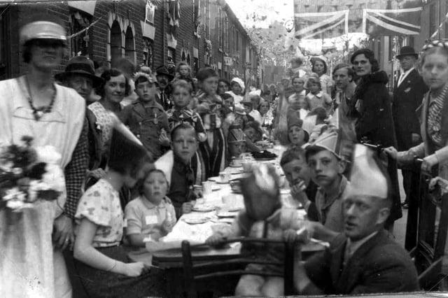 Coronation street party in Highfield Street, Landport on May 12, 1937.