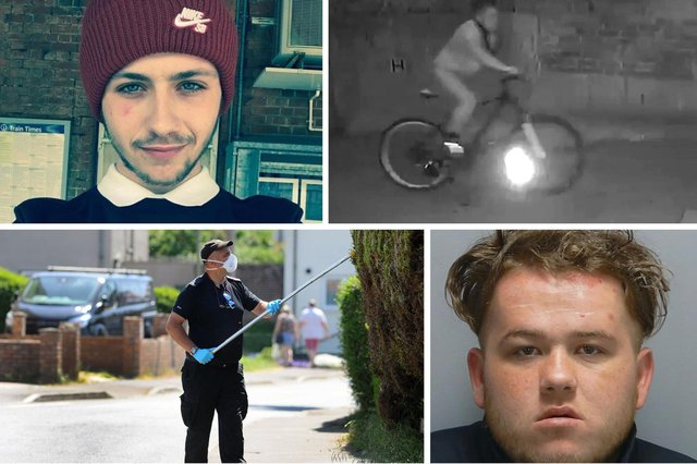 George Allison was murdered by his friend Kevin Batchelor. Pictured clockwise from top left is George Allison, Batchelor cycling away from the murder scene in Leigh Park, police investigating and Batchelor's custody photo. Picture: Family/CPS Wessex/Sarah Standing/Hampshire police