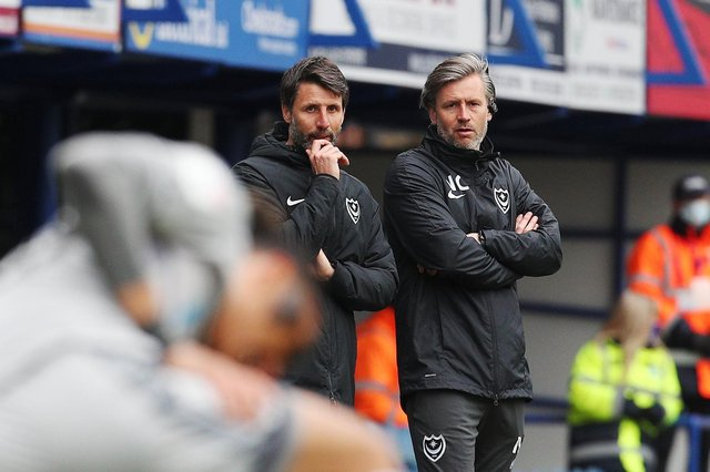 Pompey boss Danny Cowley, left, with his assistant and brother Nicky.