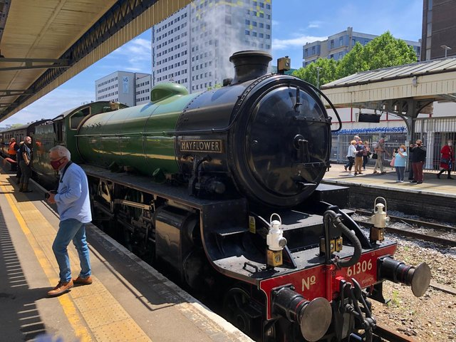 The Steam Dreams Rail Co circular trip around Hampshire saw the61306 Mayfloweranda U Class steam locomotive 31806 arrive into Portsmouth & Southsea station this afternoon. Picture: Richard Lemmer