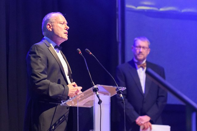 Pictured is: Professor Jeremy Howells, executive dean of faculty of business and law at the University of Portsmouth, and editor of The News Mark Waldron at The News' Business Excellence Awards 2021  Picture: Keith Woodland (080721-3)