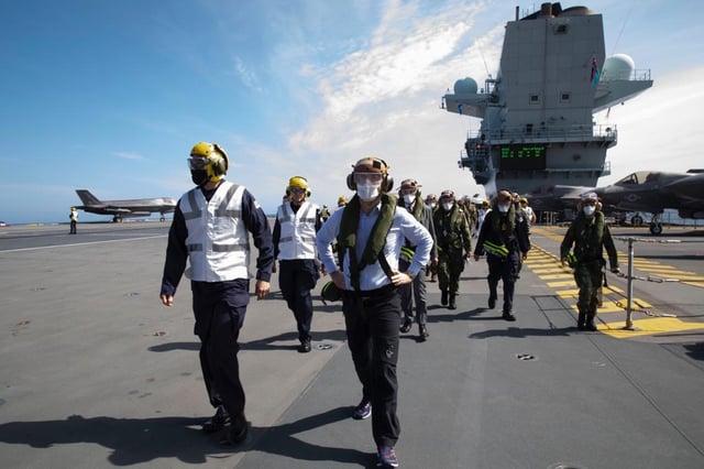 Nato Secretary General Jens Stoltenberg visits the  HMS Queen Elizabeth for Exercise Steadfast Defender 21. Photo: Nato