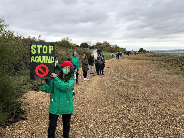 Protesters make their voices heard over the plans for Aquind to run interconnector cables through Portsmouth in October 2020. Picture: Richard Lemmer