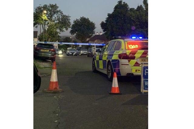 The scene in Leominster Road in Paulsgrove last night