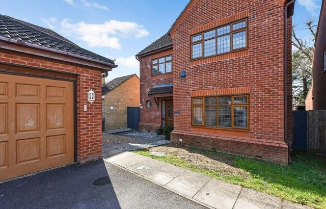 The house has a double garage and off-road parking, with spaces for up to six vehicles.