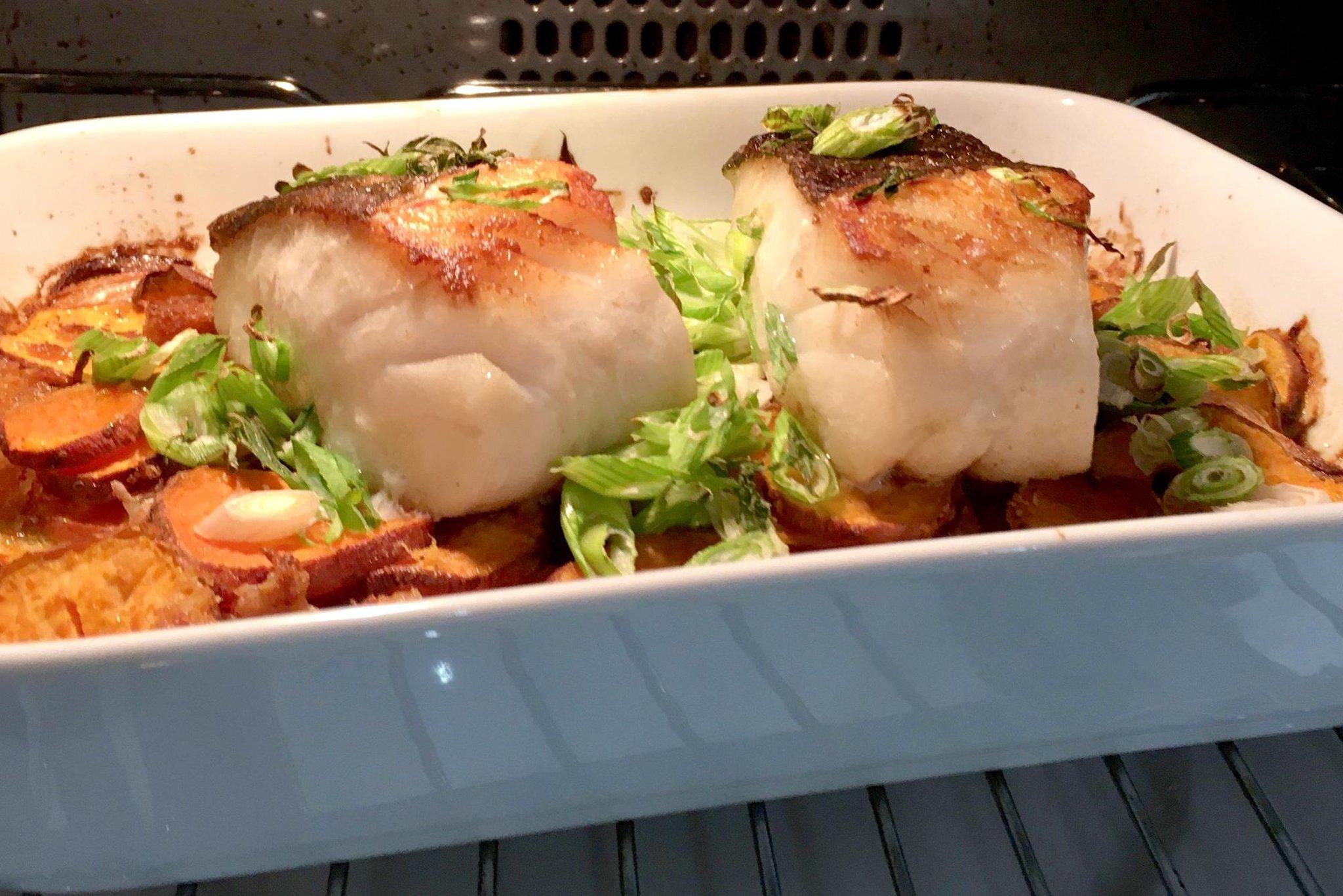 Roast cod, sweet potato and horseradish   Lawrence Murphy