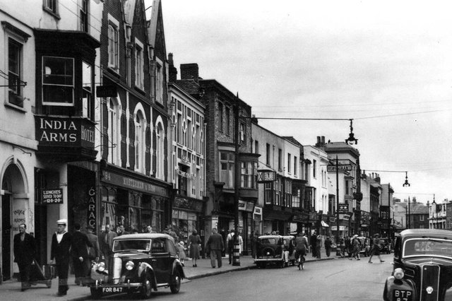 A marvellous view along High Street, Gosport, with the India Arms  on the left.  Picture: Mick Cooper collection.