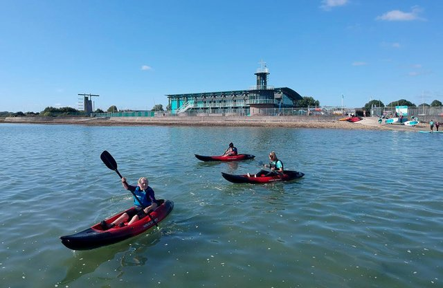 Young kayakers at the Andrew Simpson Watersports Centre in Portsmouth