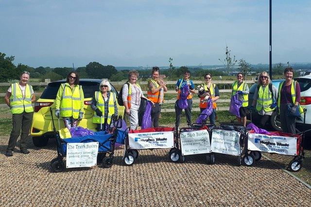 Members of The Trash Busters on a litter picking walk