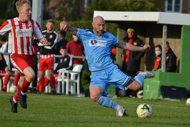 Lee Molyneaux in action for AFC Portchester at Lymington last September. Picture: Daniel Haswell.