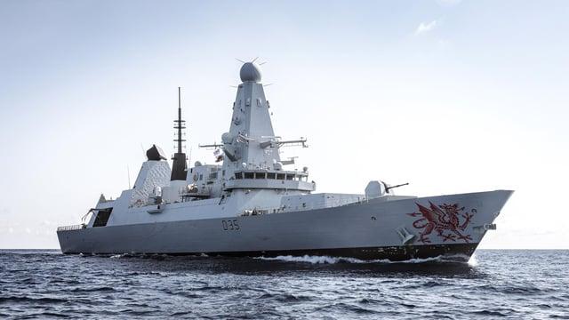 Photograph of HMS Dragon at sea.