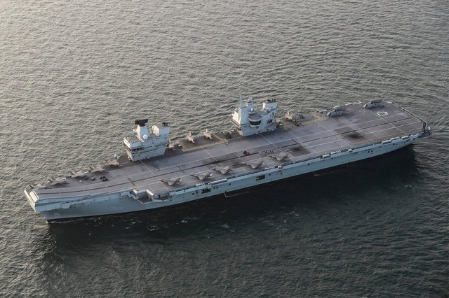 HMS Queen Elizabeth has embarked two squadrons of F-35B stealth jets: the UK's 617 Sqn and US Marine Corps fighter attack squadron 211 during an exercise last year. Photo: Royal Navy
