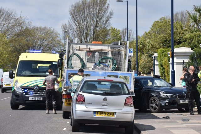 Air ambulance and emergency services at the scene of a RTC at Southsea seafrontPicture: Geoffrey Osborne