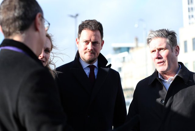 Stephen Morgan with Labour leader Sir Keir Starmer in Portsmouth in February. Picture: Chris Moorhouse     (290220-69)