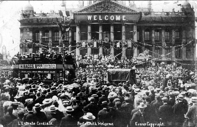 Portsmouth's Welcome to the French Fleet in Town Hall Square (later Guildhall Square) on the 10 August 1905. Picture: Portsmouth Museum Service/Portsmouth City Council