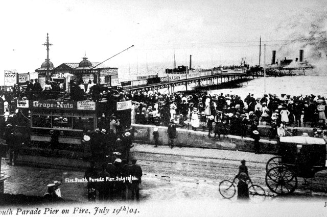 South Parade Pier on fire, July 19, 1904. Picture: The News PP4143