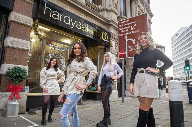 Hardysalon,  Southsea, are open for their busiest ever month.Pictured: Staff Caitlin Martin, Rachel Hardy, Keanna Hall and Yasmin Leigh at their salon on 4 December 2020.Picture: Habibur Rahman