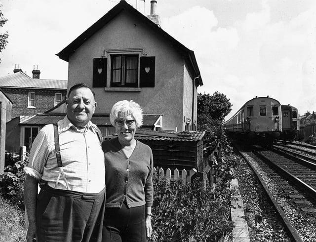Sid and Doris Emery outside Railway Cottage at Copnor Bridge
