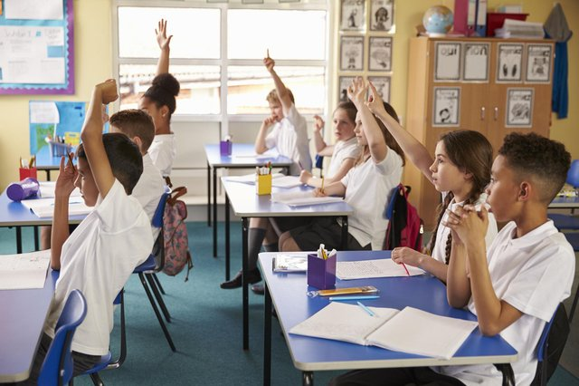 Pupils raise hands in a lesson at primary school. Picture: Shutterstock