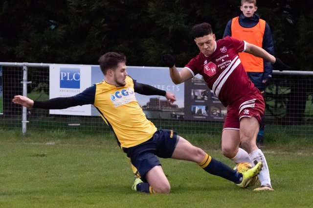 Zak Sharp, left, in action for Moneyfields in 2019/20. After agreeing to stay at Baffins last week, the defender has subsequently signed for AFC Portchester. Picture: Duncan Shepherd
