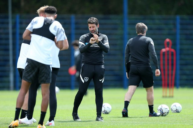 Danny Cowley oversees Pompey's return to pre-season training on Monday. Picture: Chris Moorhouse (jpns 280621-21)