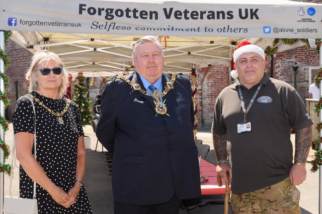 Pictured is: Mrs Joy Maddox, Lady Mayoress, Lord Mayor Councillor Frank Jonas and Gary Weaving, CEO, Forgotten Veterans charity. Picture: Keith Woodland (050621-7)