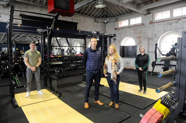 Marina Fitness in Gosport, are ready to reopen on April 12th when lockdown restrictions are lifted. Pictured is: (l-r) Luke Bower, media manager, James and Kate Eneas, owners of Marina Fitness and Karen Green, manager. Picture: Sarah Standing (260321-5639)
