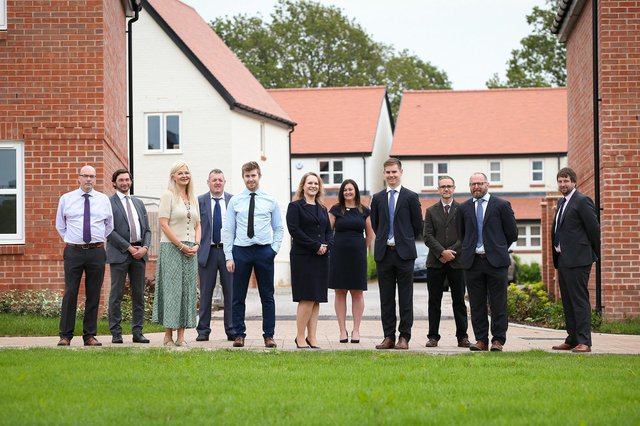 The new Persimmon Homes South Coast land and planning team, from left: Brian Robson, Dan Ramirez, Lily Vukovic, Gregg Allison, Jamie Alley, Sharon Eckford), Nicky Steward, James Elms, Ian Armitage, Giles Maltby and Dave Buczynskyj. Picture: Chris Moorhouse Photography