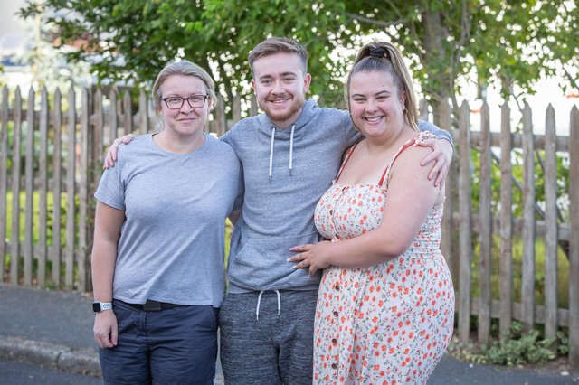 Tom Ingram outside his home in Cosham with Jen Whiteley, trustee and his girlfriend, Emily Weston on 21 August 2020.  Picture: Habibur Rahman