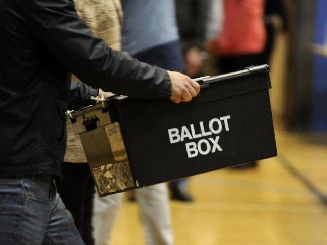 The results are collected in ballot boxes for counting