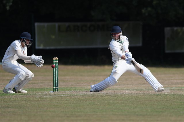 Josh Hill hit an unbeaten 69 as Sarisbury Athletic defeated St Cross 2nds by six wickets. Picture: Neil Marshall.