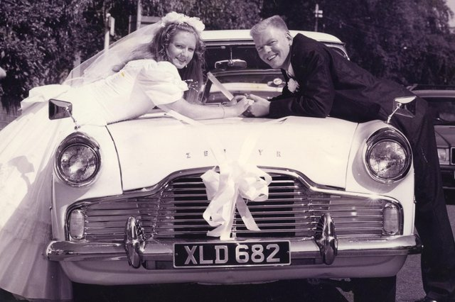 Rhondsa Sealey and Paul Kneller prepare to drive away from their wedding at Fareham registry office in their beloved Zypher, 1995. The News PP5396