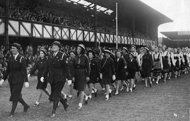 The Girls Life Brigade parading across the Fratton Park turf about 1942. Theresa Proudlock (nee Clancy) is the second girl in a white blouse in the line furthest from the camera. Picture: Courtesy of Michael Proudlock