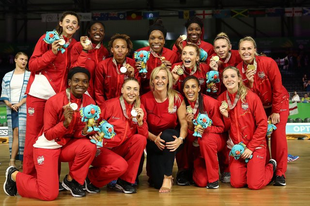 Gold medallists England and head coach Tracey Neville after victory at the Commonwealth Games in 2018. Photo by Scott Barbour/Getty Images.