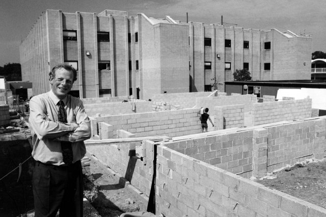 Michael Oakes, the principal of South Downs College, Havant, in front of the new South building that was being built in 1994. Picture: The News PP5186
