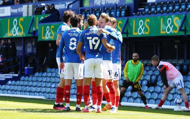 Pompey's players celebrate Ronan Curtis' first-half match winner against Bristol Rovers. Picture: Joe Pepler