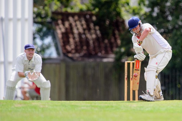 Locks Heath's Justin Cousins, right, scored a half-century in his side's nailbiting last-ball loss to Railway Triangle. Picture: Allan Hutchings