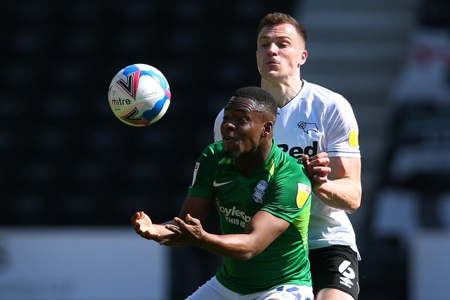 George Edmundson in action for Derby against Birmingham last season. Picture: by Alex Livesey/Getty Images
