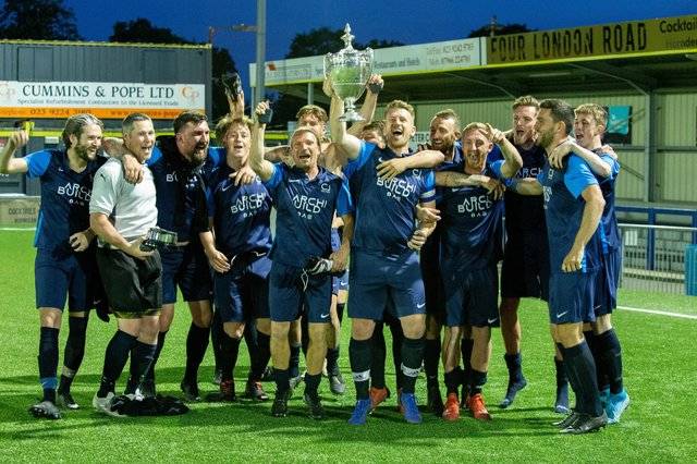 C J Glass celebrate their Portsmouth FA Victory Cup final success against AFC Portchester at Westleigh Park. Picture: Habibur Rahman