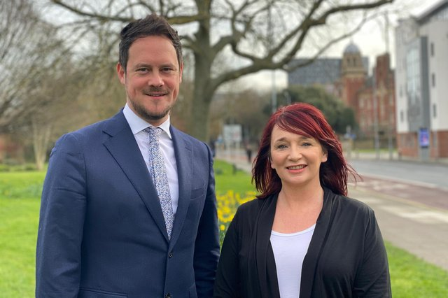 The Labour MP for Portsmouth South MP and Charles Dickens councillor, Stephen Morgan, with city activist Kirsty Mellor, who will be Labour's candidate for Charles Dickens at the next local elections on May 7