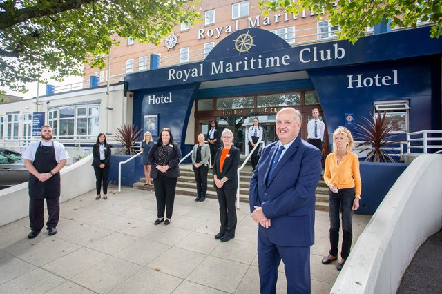 The Royal Maritime Club & Hotel, Portsmouth. General Manager, John Alderson with his staff.